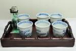 ◆中国/台湾 染付 茶器/茶杯 六玉◆竹彫刻お盆付き◆骨董◆