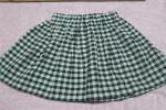 ハンドメイド女児スカート綿100生成x深緑Greenギンガム100-110